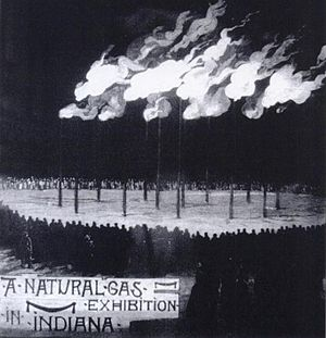 Indiana gas boom - A flambeau display in Indiana, with multiple large flames