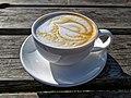 Flat white coffee at Highgate Cricket Club, Haringey, angle view 1.jpg