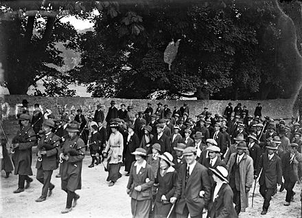 Election victory procession led by Markievicz in County Clare Following the pipers! (29677821546).jpg