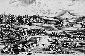 Fort Vancouver National Historic Site - Illustration of Fort Vancouver and its environs in 1855.