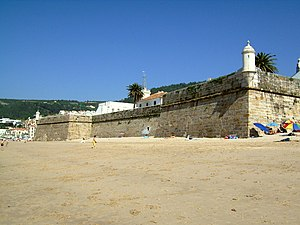 Battle of Sesimbra Bay - The Fort of Santiago at Sesimbra. During the battle it was put out of action by English warships