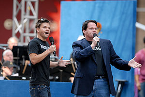 Hunter Foster - Hunter Foster (left) with John Treacy Egan of The Producers