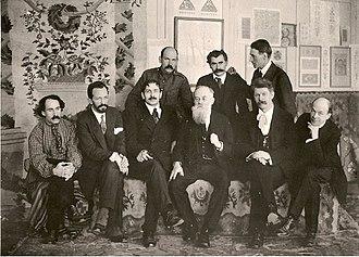 Oleksandr Murashko - Founders of the Ukrainian State Academy of Arts, 5 September 1917: Murashko front, second from left