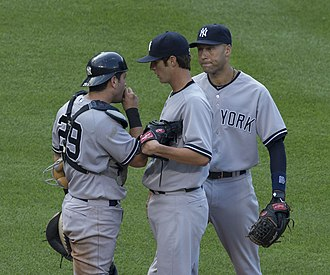 Shane Greene - Greene (center) with Francisco Cervelli (left) and Derek Jeter (right)