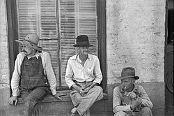 Photographie de 3 métayers, Frank Tengle, Bud Fields et Floyd Burroughs en Alabama, été 1936, par Walker Evans.