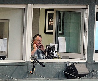 Fred Manfra - Manfra in the broadcast booth at Camden Yards, 2011.
