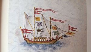 Skipperhuset - Frederick IV's leisure boat, hand-coloured drawing from Frederick IV's Atlas, 1859