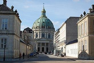 Frederiksgade - View along Frederiksgade towards the Marble Church