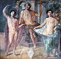 Fresco from Pompeii - Jupiter enthroned with Mars and Venus.JPG