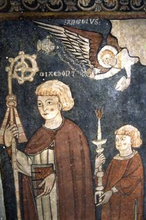 Fructuosus - Detail of a Romanesque mural of Saint Fructuosus at Bierge, Huesca