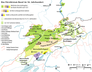 Map of the Bishopric of Basel during the 16th ...