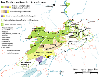Canton of Basel - The Prince-Bishopric of Basel in the 16th century