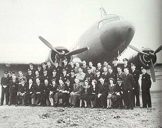 BOAC Flight 777 - Photo taken by BOAC at Whitchurch to commemorate the 500th flight on the Bristol-Lisbon line, aircraft is the DC-3 G-AGBD/PH-ARB Buizerd (buzzard). Date June 16, 1942. The crew of the downed G-AGBB are in this photo (Tepas middle row and de Koning top row standing, both just left of left engine propellor blade).