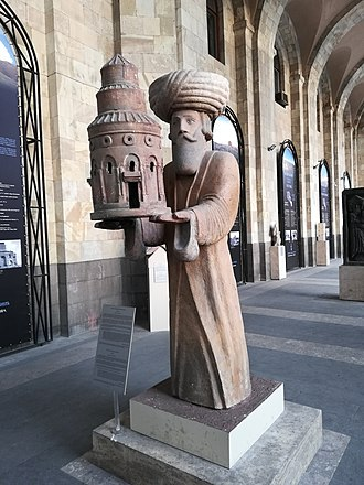 Gagik I of Armenia - A replica of Gagik's statue at the entrance of the History Museum of Armenia.