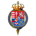 Garter encircled shield of arms of Archduke Franz Ferdinand of Austria.png