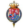Garter encircled shield of arms of Archduke Franz Ferdinand of Austria.png