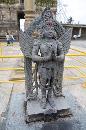 Kadru - A statue of Garuda from the Chennakesava temple in Belur, Karnataka, India