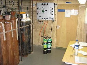 Breathing gas - Air, oxygen and helium partial pressure gas blending system