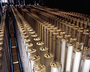 Enriched uranium - A cascade of gas centrifuges at a U.S. enrichment plant