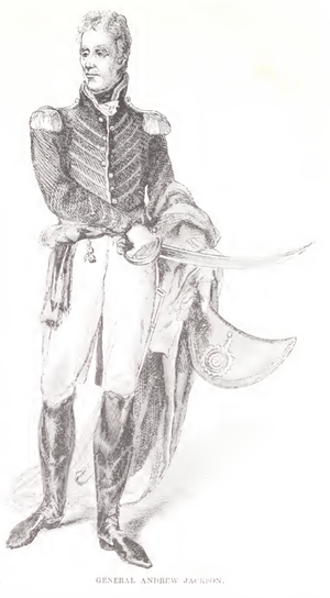 Man in blue military uniform, white pants, and boots, holding sword