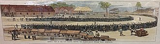 Pedestrianism - African American walking match at the North Carolina State Fairgrounds in Raleigh, North Carolina, 1879