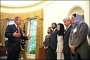 George W. Bush with ministers of Afghanistan in 2002.jpg