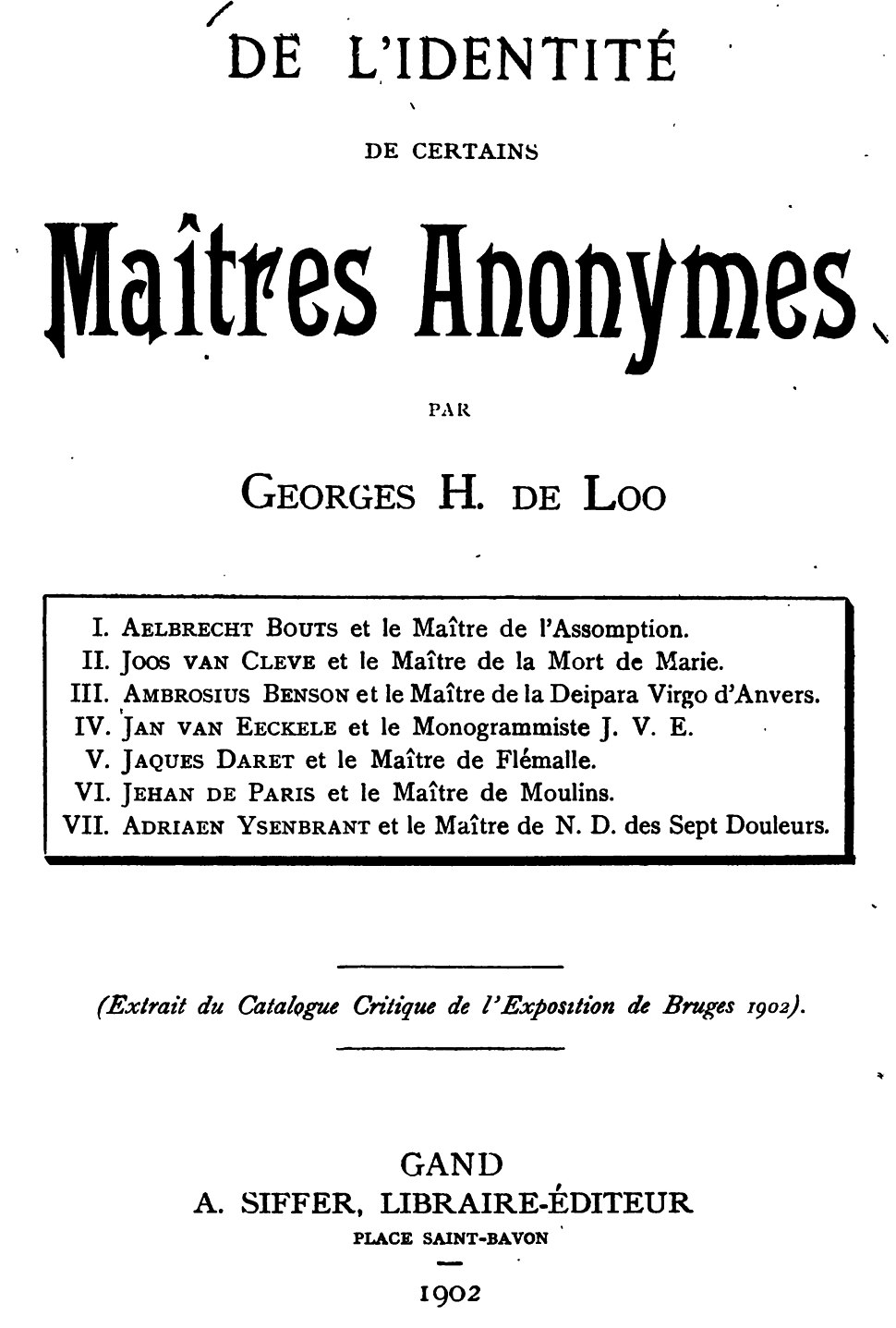 Georges Hulin de Loo - Titlepage Maitres Anonymes 1902