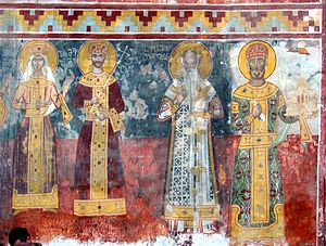 David IV of Georgia - Gelati Monastery fresco of King David, 12th century
