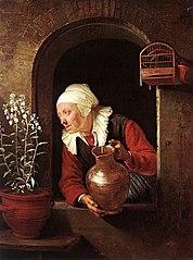 Alte Frau am Fenster, Blumen giessend