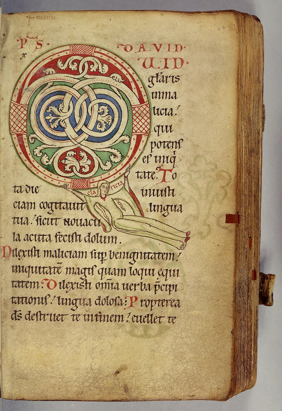 German - Leaf from Claricia Psalter - Walters W2664R - Open Obverse