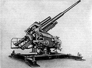 12.8 cm FlaK 40 - A static mounted 12.8 cm Flak 40.