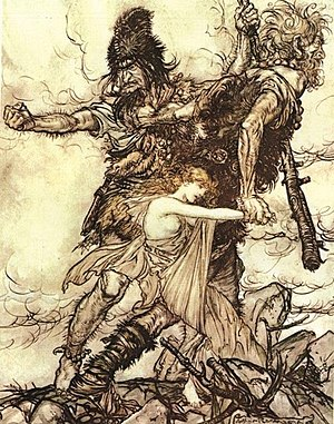 The giants seize Freya. One of Arthur Rackham'...