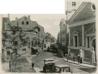 Main Street, Gibraltar - Old photograph of Main Street taken in the early 1900s just outside the Cathedral of St. Mary the Crowned.