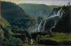 Gilles-François Closson - Paysage du Latium avec cascades