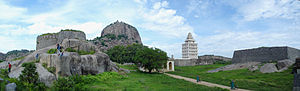 Viluppuram district - A Panorama of Gingee Fort.