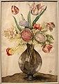 Giovanna garzoni, buffone di vetro con tulipani, anemoni e narciso poetico su una base rocciosa, 1642-51 ca. (GDSU) 01.JPG