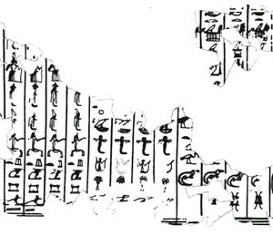 Giza writing board - list of deities.