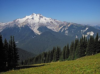 Glacier Peak - View from Liberty Cap across the Suiattle River Valley
