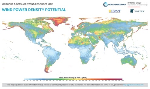 Global map of wind power density potential. Global Map of Wind Power Density Potential.png
