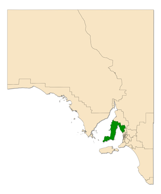 Electoral district of Goyder - 2014 extent of the electoral district of Goyder (green) in South Australia