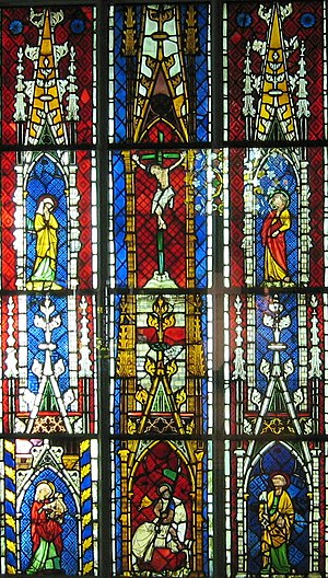Musée de l'Œuvre Notre-Dame - Image: Grande verrière avec Calvaire, Saint Pierre, Saint Maurice et la Vierge à l'Enfant Ancienne église Saint Maurice de Mutzig, Bas Rhin Vers 1300 1310
