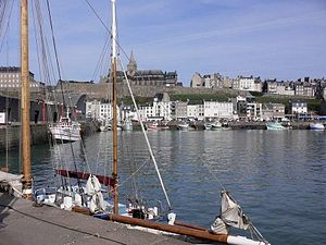 Granville, Manche - The harbour of Granville, with Notre-Dame church in the background