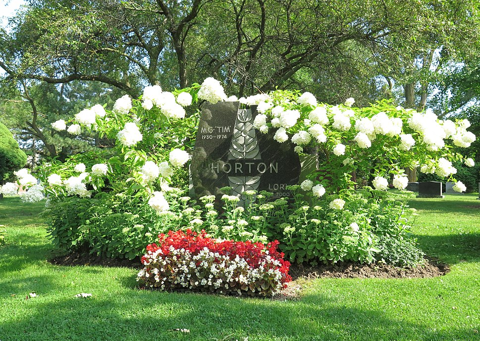Graves of Tim Horton and Lori Horton in York Cemetery in Toronto