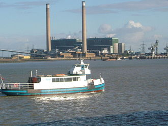 Gravesend–Tilbury Ferry - Ferry against Tilbury Power Station