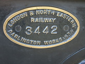 Darlington Works - Darlington Works plate of 1938 on K4 2-6-0 3442 (61994) The Great Marquess, April 2009