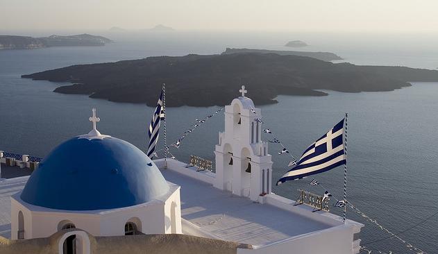 Greek flag-Santorini