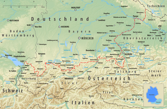 Austria–Germany border - course of the German-Austrian border (red)
