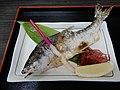 Grilled fish HIMEMASU or Oncorhynchus nerka in a restaurant by Lake TOWADA Aomori Prefecture Japan.jpg