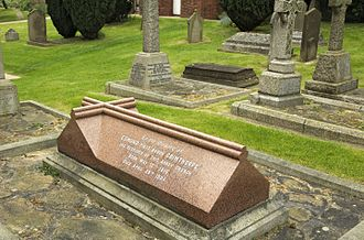 Edmund Beckett, 1st Baron Grimthorpe - The grave of Lord Grimthorpe outside St Albans Cathedral