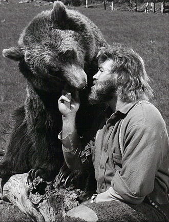 "The Life and Times of Grizzly Adams - Dan Haggerty as ""Grizzly Adams"" and Bozo the bear as ""Ben"", 1977"